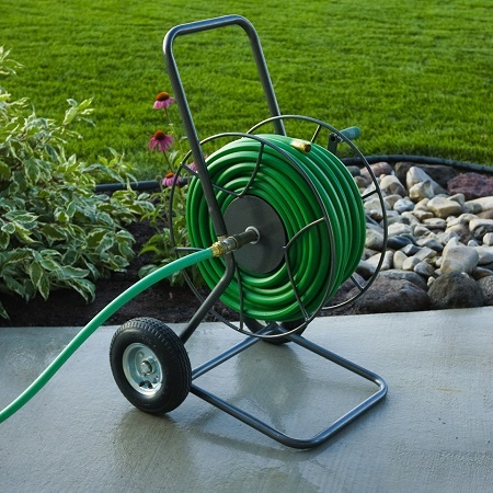 Hose Reel On Pathway